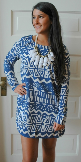 aztec tunic blue and white dress long sleeve dress