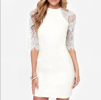 dress lace dress mini dress white dress fall outfits half sleeves
