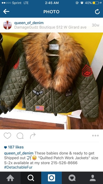 coat army green fur collar patchwork