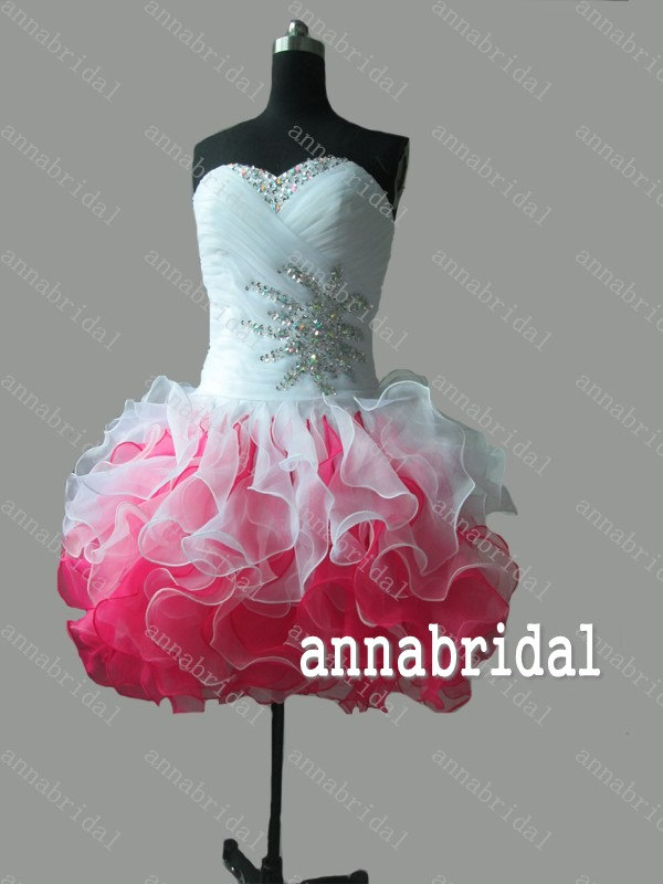 Color short prom dresses sweetheart organza white pink gorgeous ruffles mini ball gown corset homecoming cocktail beaded sequins 2015
