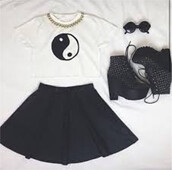 top,tumblr outfit,crop tops,boots,skirt,sunglasses,yin yang,cute oufit