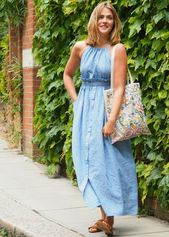 blogger dress shoes bag jewels blue dress summer dress long dress sandals