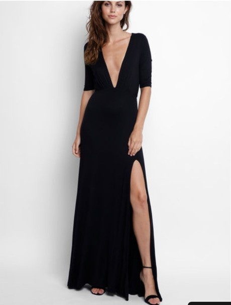 sexy v-neck prom dress with high slit a-line short sleeve evening dress,HH043