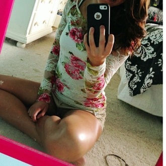 shirt white top flowers lace