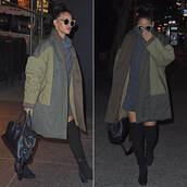 dress,coat,jacket,turtleneck,boots,rihanna,down jacket,sunglasses