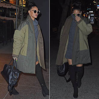 dress coat jacket turtleneck boots rihanna down jacket