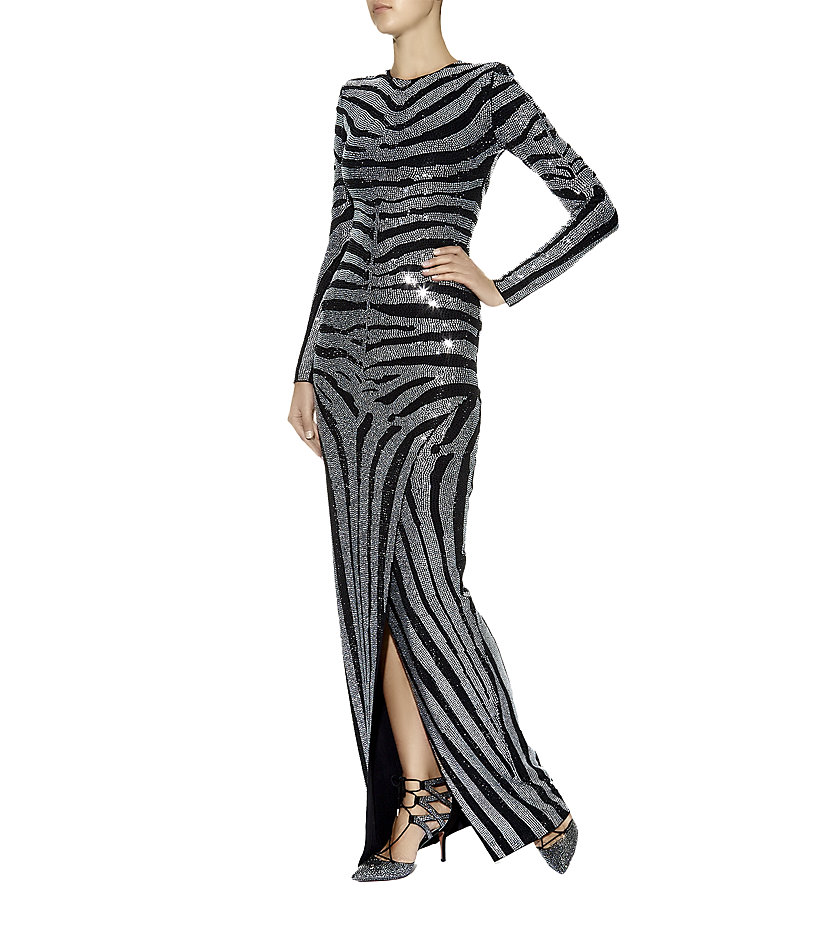 Balmain Diamanté Zebra Stripe Gown