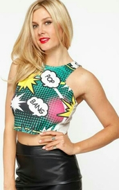 bluecroptop,bang bang,red lipstick,pretty girl,pop art,pretty blue,crop tops,bang