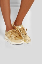 shoes,gold,white,air max,nike,gold nike,nike air,nike air max métal liquid,nike air max liquid gold,nike running shoes,nike air max 1,tennis shoes,nike shoes,nike shoes womens roshe runs,nike free run,gold shoes,tumblr outfit,sneakers,nike airmax golden girls 35size