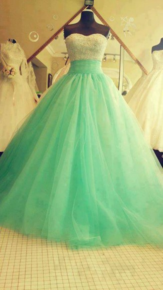 mint mint green dress princess tumblr, need, please help sweetheart neckline a-line
