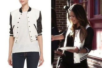 jacket black and white leather jacket cropped hoodie cropped pretty little liars