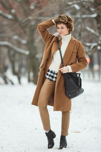 gvozdishe blogger fur hat wool coat winter coat