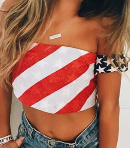 blouse red white blue american flag american flag crop top crop tops cute top