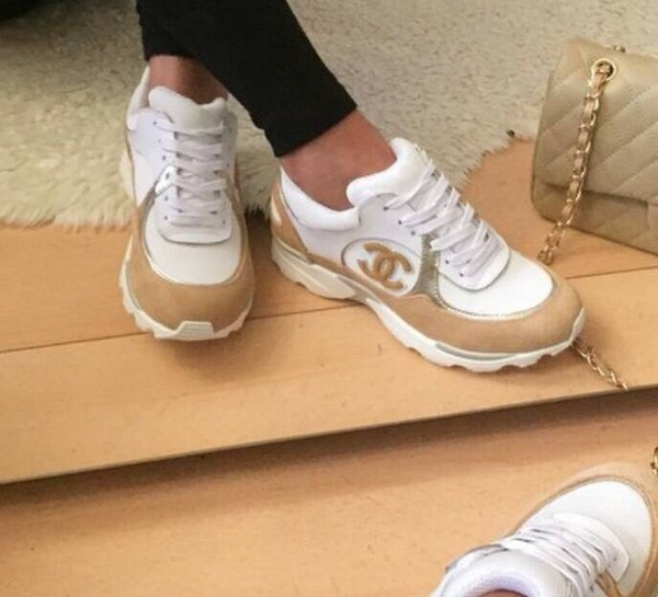 c8fc5496a8ea 2015 CHANEL CC WHITE BEIGE GOLD SNEAKERS TENNIS SHOES TRAINERS 37 38 NIB