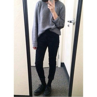 sweater gray sweater skinny jeans casual grunge alternative fresh dope style stylish trending trendy trend on point clothing popular popular blogger fashion inspo chill rad