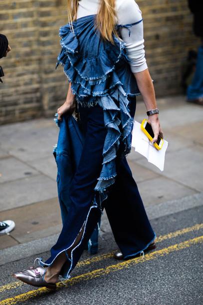 ffe336a7dca top fashion week street style fashion week 2016 fashion week blue top denim  top ruffle ruffled