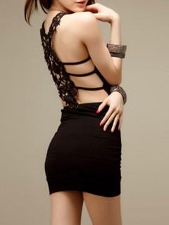 Black cut out hook flower bodycon dress