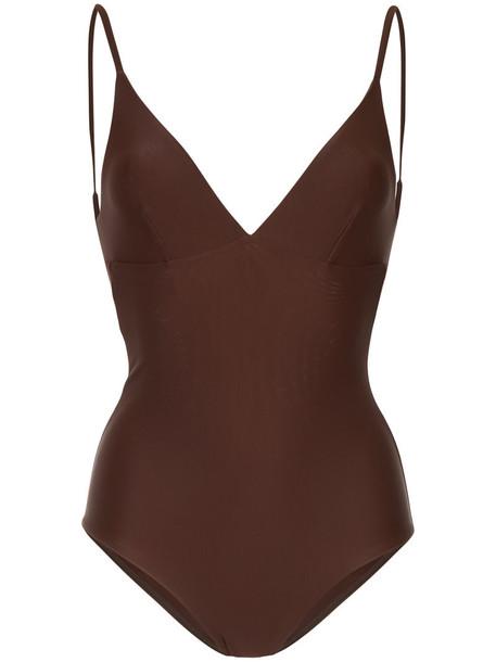 Matteau - plunge swimsuit - women - Nylon/Spandex/Elastane - 3, Brown, Nylon/Spandex/Elastane