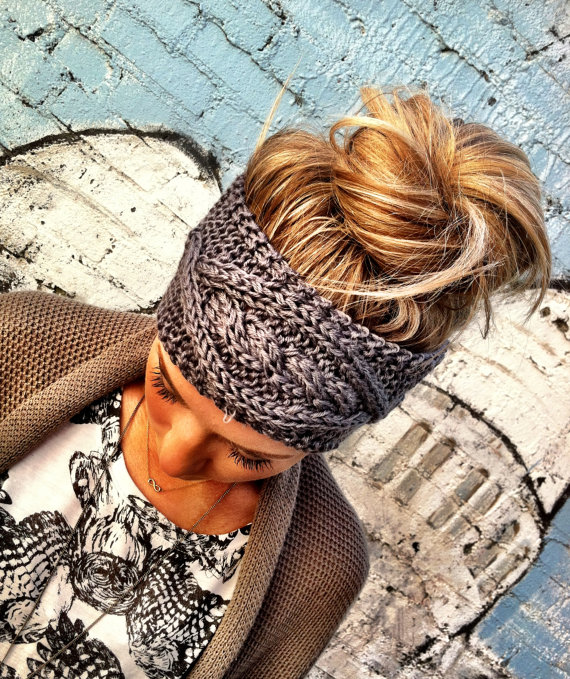 Cable knitted headband, ear warmer, gray, fall hair band, knit fashion accessory, cozy, pinterest favorite, cable knit in grey (hb