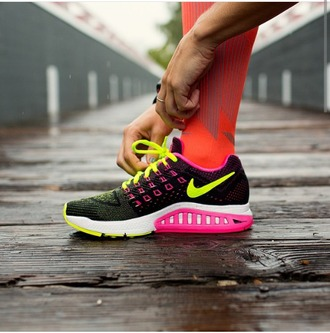 shoes neon yellow pink white black nike sneakers