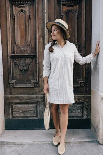 dariadaria blogger dress hat shoes bag shirt dress loafers basket bag summer outfits tumblr grey dress stripes striped dress long sleeves long sleeve dress flats sun hat