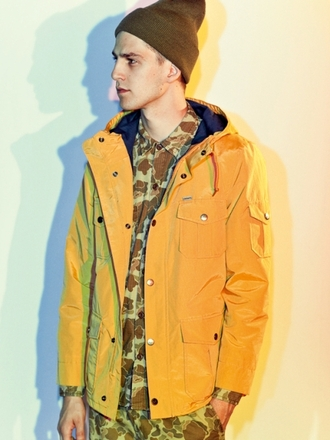 mustard coat mustard coat style coat jacket menswear mens jacket lemongrass camouflage beanie mens shirt mens windbreaker