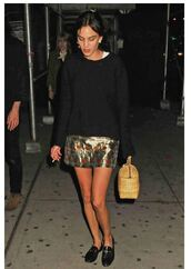 skirt,metallic,alexa chung,flats,shoes,sweater,top,purse