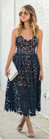 dress,dark blue dress,lace crochet spaghetti strap