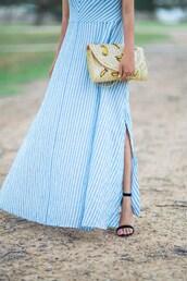 bag,clutch,tumblr bag,summer hat,banana print,maxi dress,sandals,blogger,blogger style