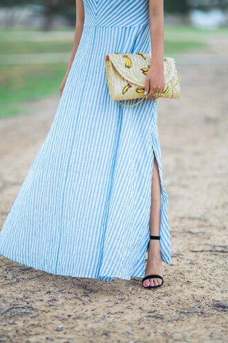 bag clutch tumblr bag summer hat banana print maxi dress sandals blogger blogger style