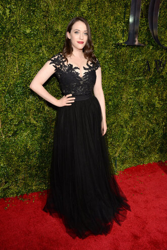 dress gown black dress prom dress red carpet tony awards kat dennings