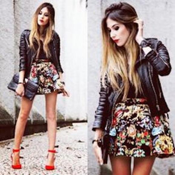 floral skirt cute