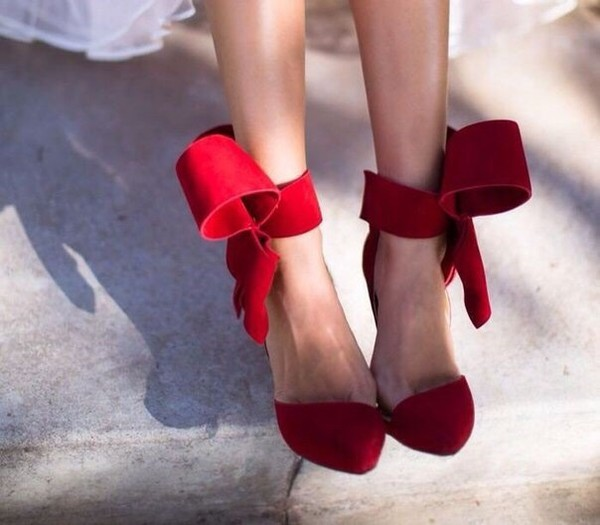 shoes red bow high heels