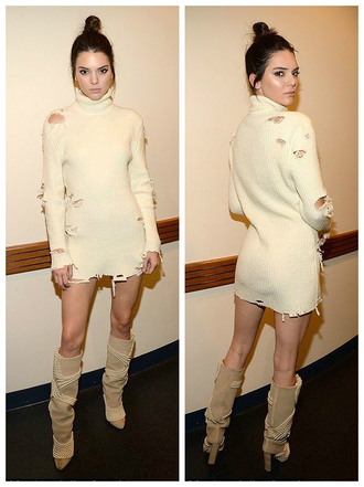 dress sweater sweater dress boots kendall jenner fashion week 2016 ny fashion week 2016