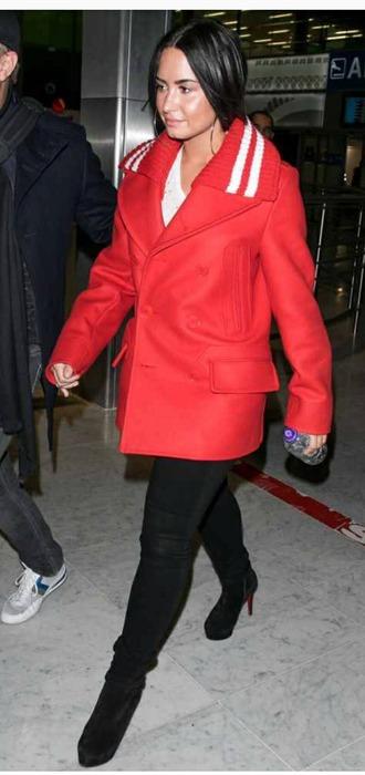 coat demi lovato orange orange coat winter outfits celebrity style winter orange coat