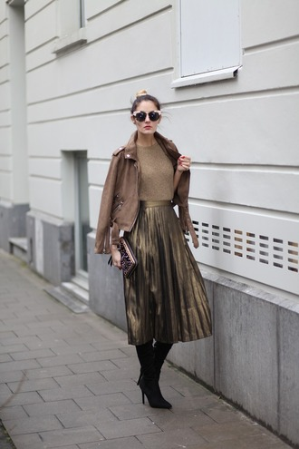 from brussels with love blogger jacket top skirt shoes bag pleated skirt brown jacket boots thigh high boots clutch