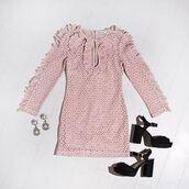 dress,alice mccall magic dress,girly dress,ootd,flatlay,romantic dress,alice mccall,alice mccall dress,lace dress,pink dress,long sleeve dress