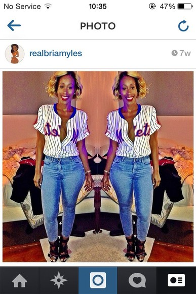 jeans blue high waisted jeans shirt skinny jeans denim bria myles baseball tee