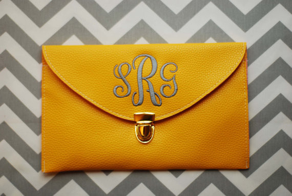Monogrammed Clutch Envelope Purse Envelope Clutch Yellow Monogram Clut – Starr Boutique