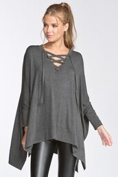 top,grey,charcoal,lace up,poncho,dolman sleeves