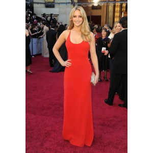 Jennifer lawrence red evening dress at 2011 oscar awards red carpet