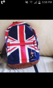 bag red white blue backpack london british flag british fake leather brown