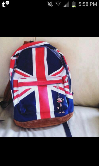 bag red white blue backpack london union jack british