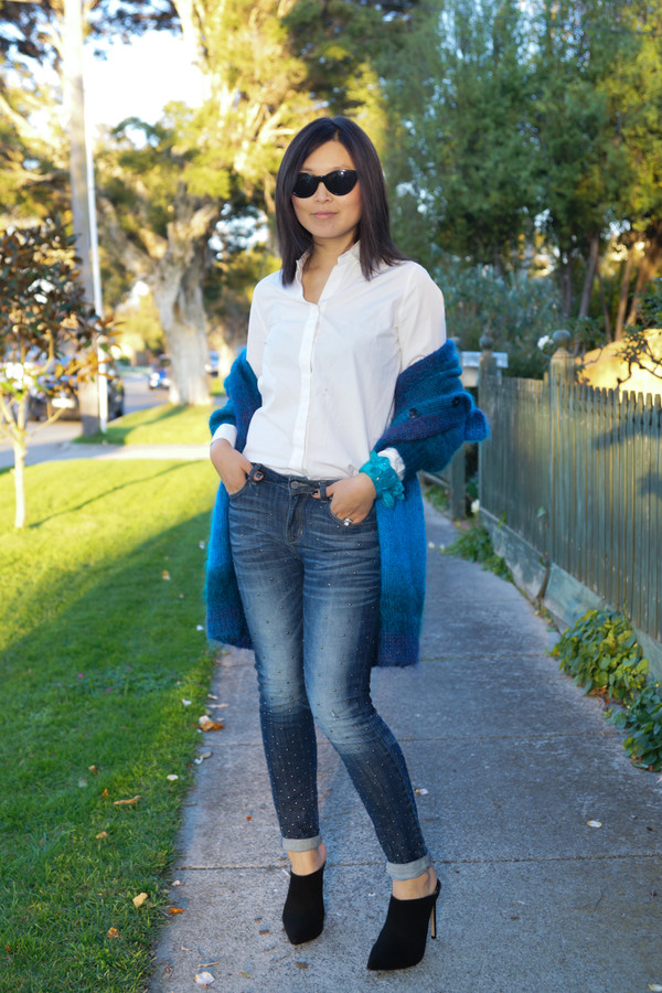 cecylia blogger cardigan jewels jeans shoes