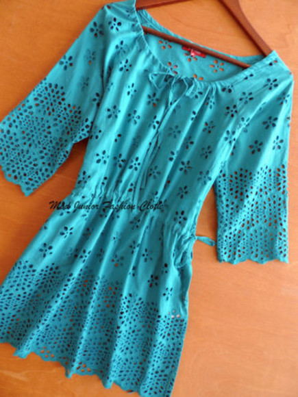 teal dress fashion dress cut-out cut out lace cut out crochet floral flower poer swimwear cover up mini dress scoop neck blogger summer outfits outfit