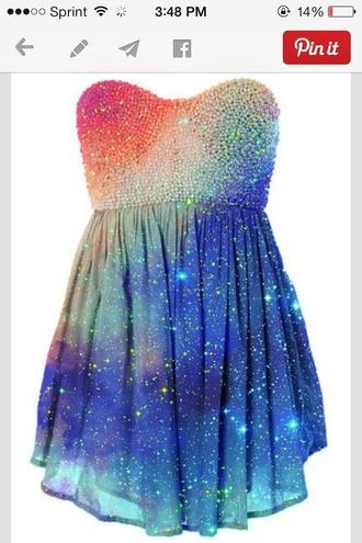 prom dress galaxy dress dress galaxy print glitter glitter dress