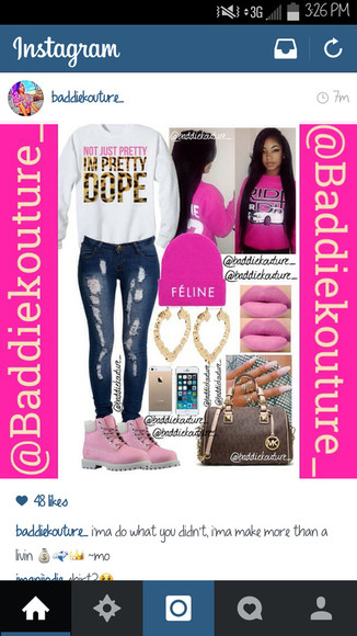 outfit blaaaze outfit idea outfit ideas baddiekouture_ dope timberlands bag