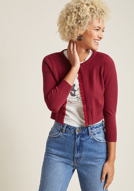 Modcloth cardigan cardigan cropped ruffle red sweater