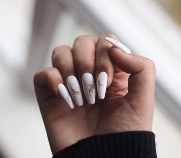 Nail polish: tumblr, white nails, acrylic nails, fake ...