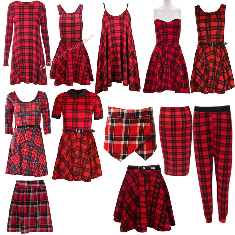 3bb1d9fa0282f Ladies Red Tartan Check Print Swing Tunic Skater Dress Pencil Midi ...